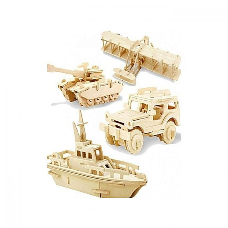 Pack Of 4 - 3D Wood Puzzle Learning Toy For Children