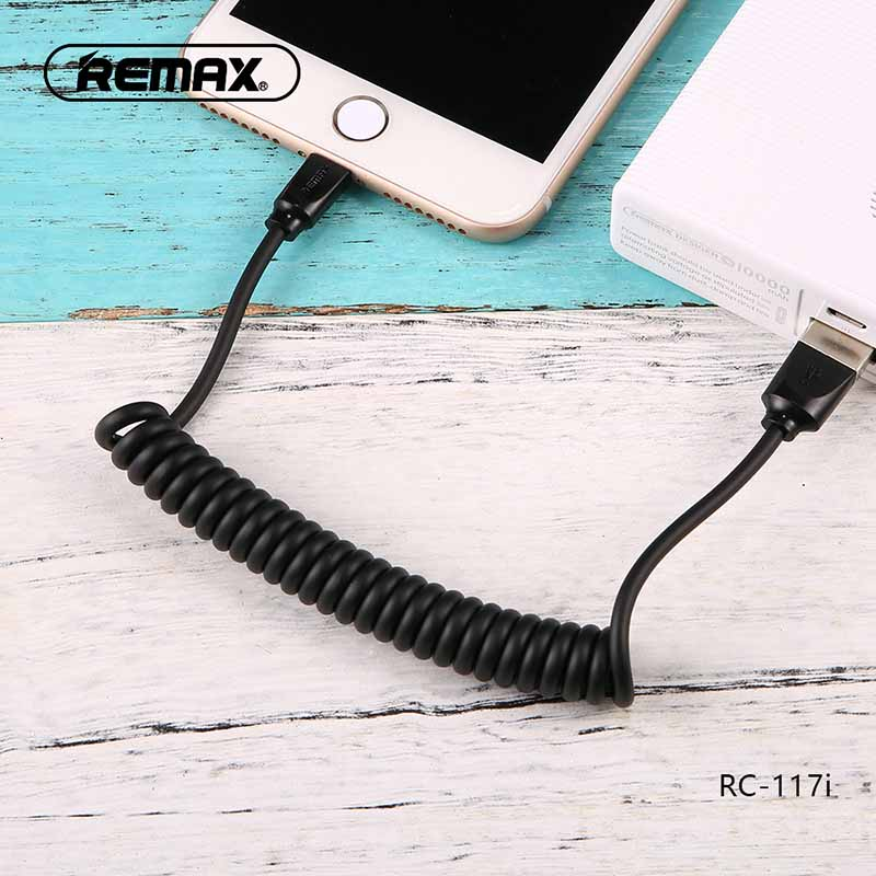 Spring Retractable - USB Charging Cable -  For iPhone - RC-117i - Black