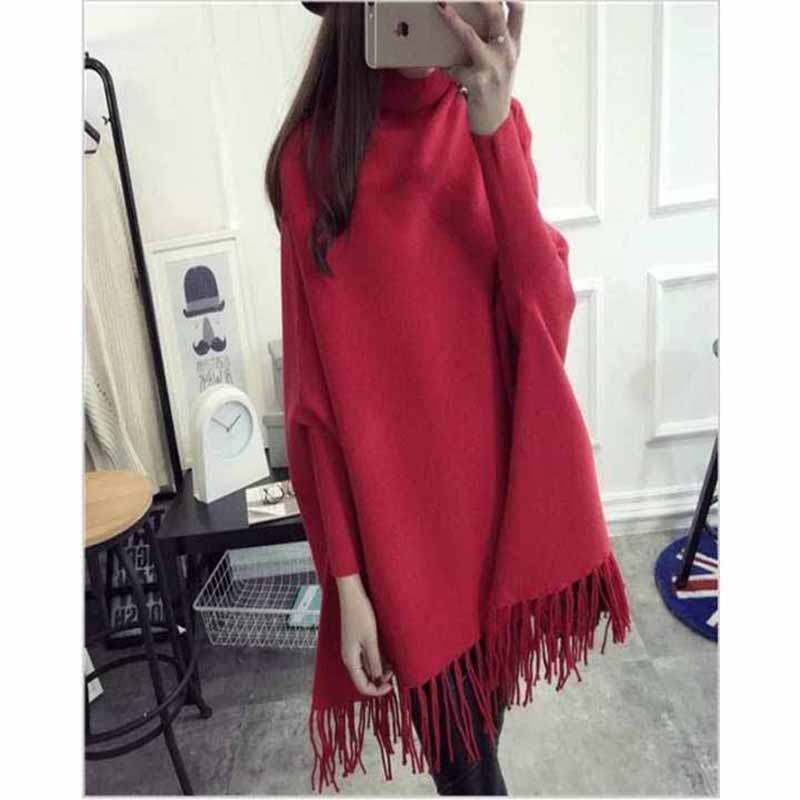 Poncho Sweaters Turtleneck Tassel Pullover - Red