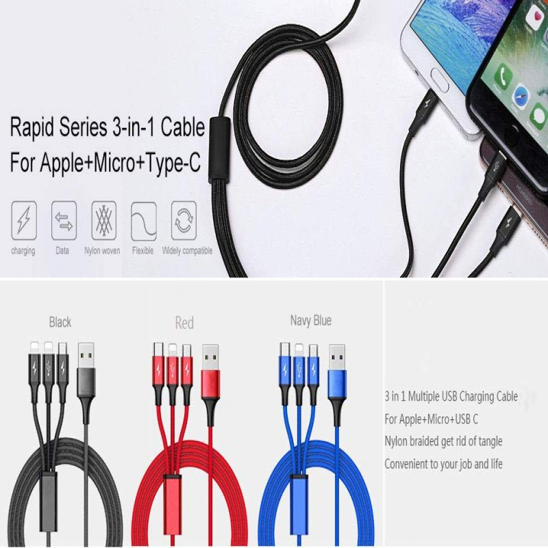 3 in 1 - Charging Cable for Type-C - Apple - Micro USB - Multi-color