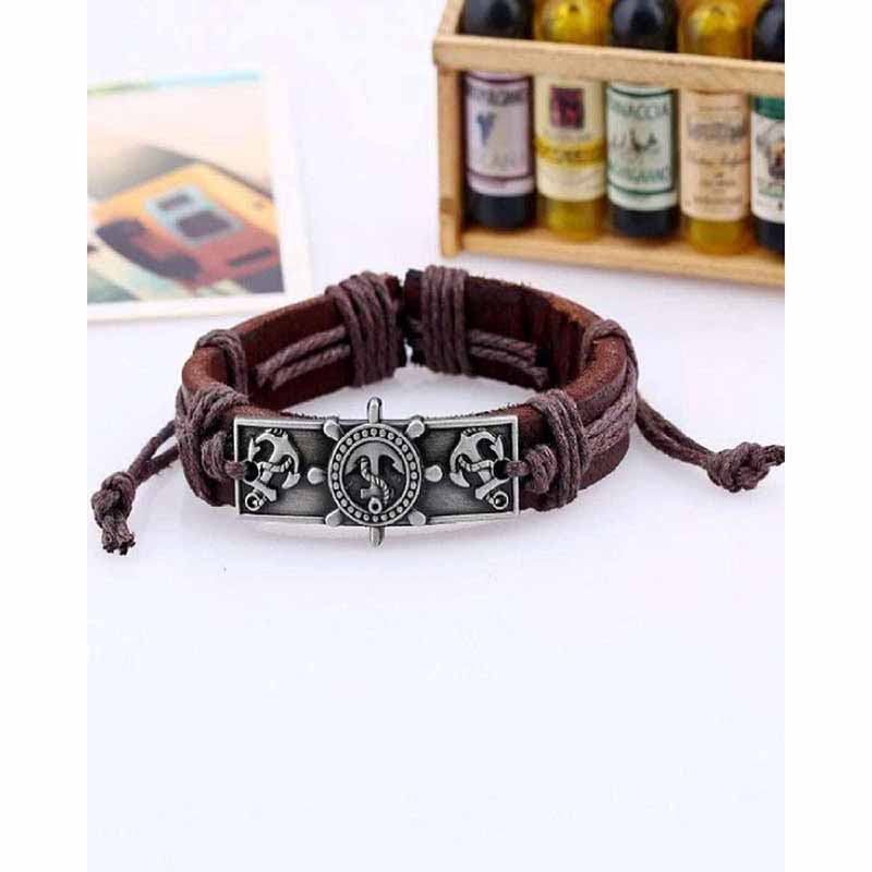 PU Leather & Alloy Hot Anchor Leather Bracelet - Brown