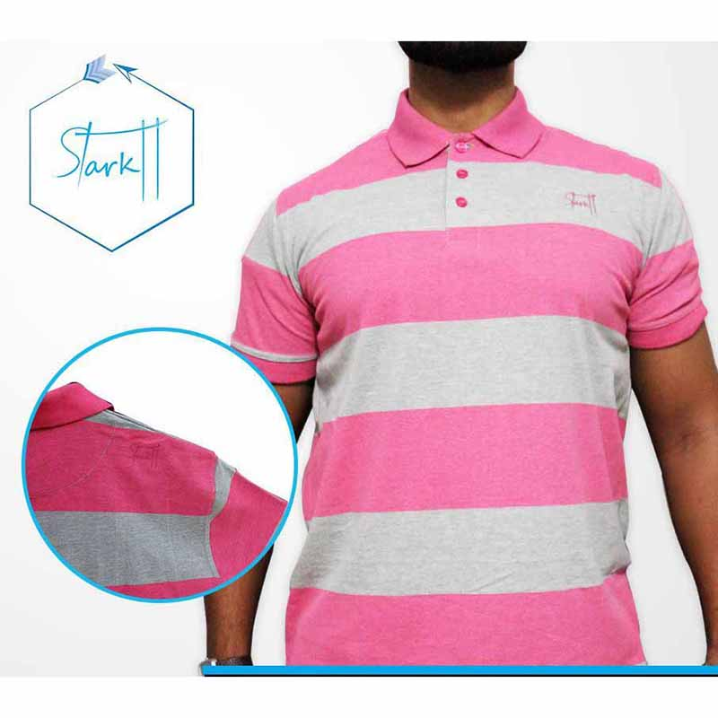 Strips Polo T Shirt for Men - Pink & Grey