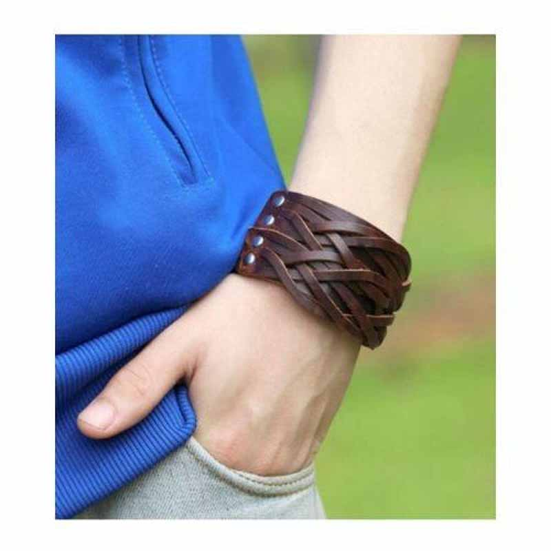 Cuff Wrap Double Studded Leather Bracelet - Brown