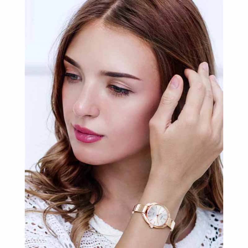 Luxury Analog Watch for Women - Rose Gold & White