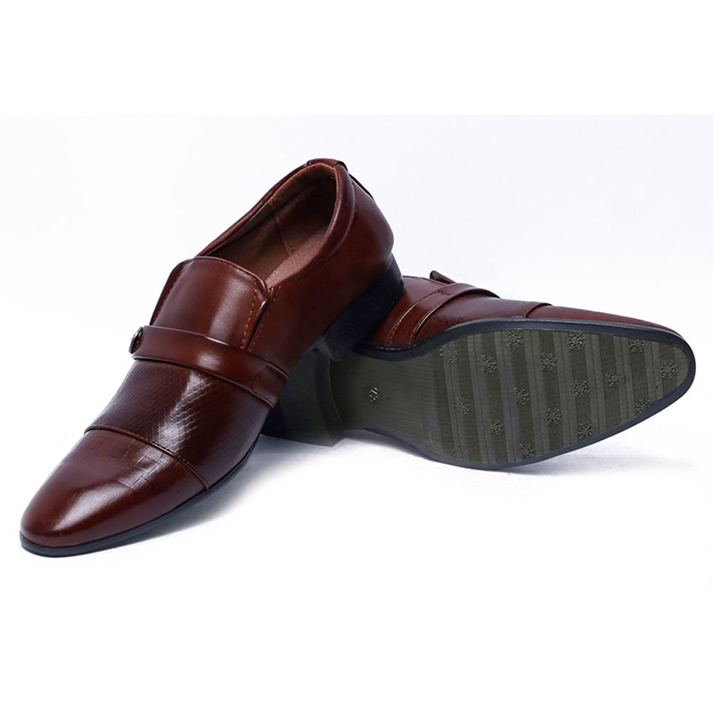 Leather Formal Slip-on Shoes - A - Brown