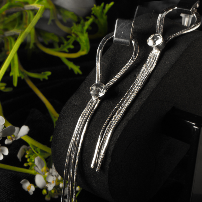 Exclusive Long Rope Style with Daimond Earring for Womens - Silver