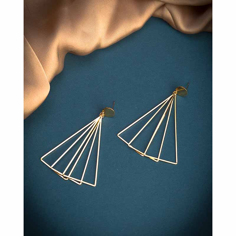 Triangle Layered Earrings - Golden
